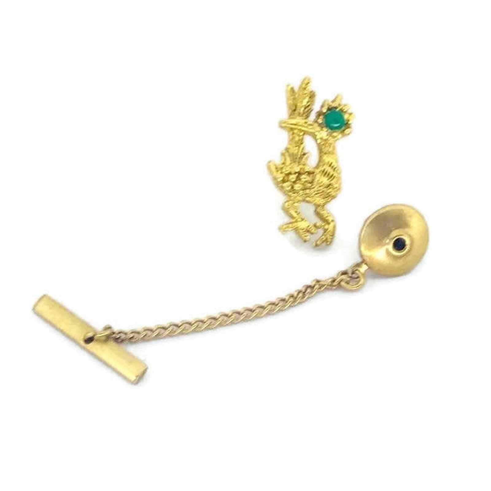 Vintage Gold & Green Roadrunner Tie Pin, Bird Tie Tack, Bird Tie Pin