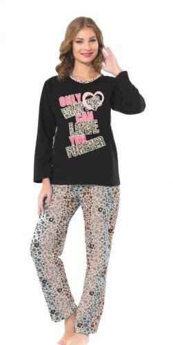 caliente Molton grueso Langer interior angerauter señora-pijama con Front presión