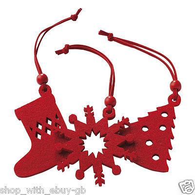 rojo fieltro rbol de navidad perchas decoracin adorno calcetn copo nieve