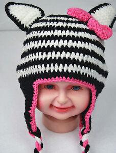 9a68505e1a1 Baby Crochet Animal Zebra Hat Beanie Knit Crochet Beanie Cap Baby ...