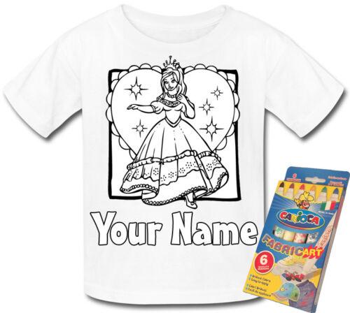 Princess /& coeur couleur personnalisé dans votre propre t-shirt cadeau fun /& nommé trop *