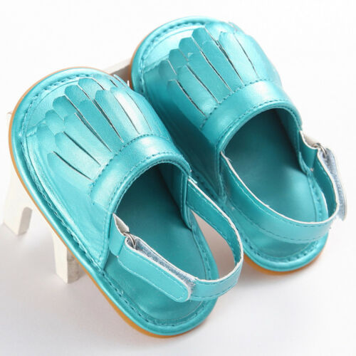Newborn Baby Girl Crib Shoes Leather Tassel Soft Sandals Non-slip Prewalkers US