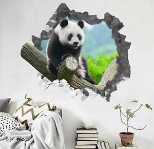 Details About 3d Innocent Panda 3412 Wall Murals Wall Stickers Decal Breakthrough Wallpaper Au