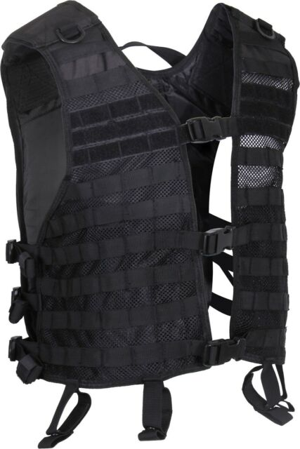 Black Lightweight Military Tactical MOLLE Adjustable Mesh Utility Vest