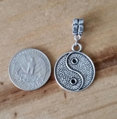 Yin Yan Symbol Dangle Antique Silver Tone Pendant for European Charm Bracelet
