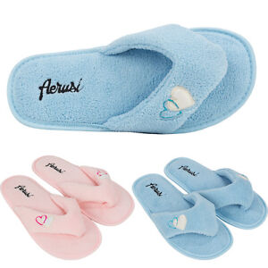 Women Fleece Spa Thong Flip Flops Slippers Bedroom Indoor House Shoes Size 5
