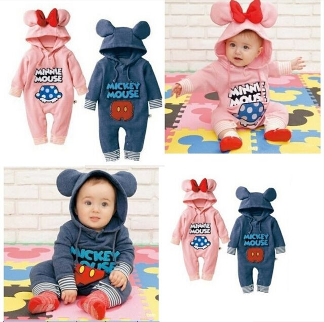 New Baby Toddler Boy Girl Cartoon Mickey Clothes Romper Jumpsuit Bodysuit Outfit