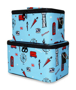 Image is loading UK-London-Makeup-Box-Set-Train-Case-Cosmetic-