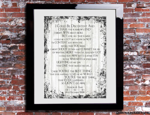 Style Council You/'re The Best Thing Lyrics Print Song Personalised Canvas Gift