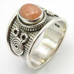 925-Sterling-Silver-Orange-Aventurine-Ring-Size-9-Wholesale-Handcrafted-Jewelry