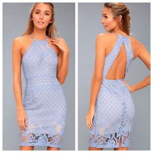 Lulus-Sheath-Pencil-Bodycon-Dress-Light-Blue-Lace-Open-Back-Lined-Size-Small