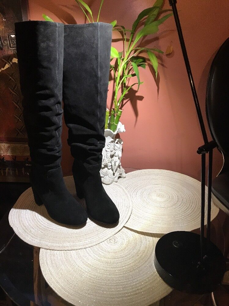 Steve Madden  Black Suede Leather High Heel Boots Women's Size 7,5