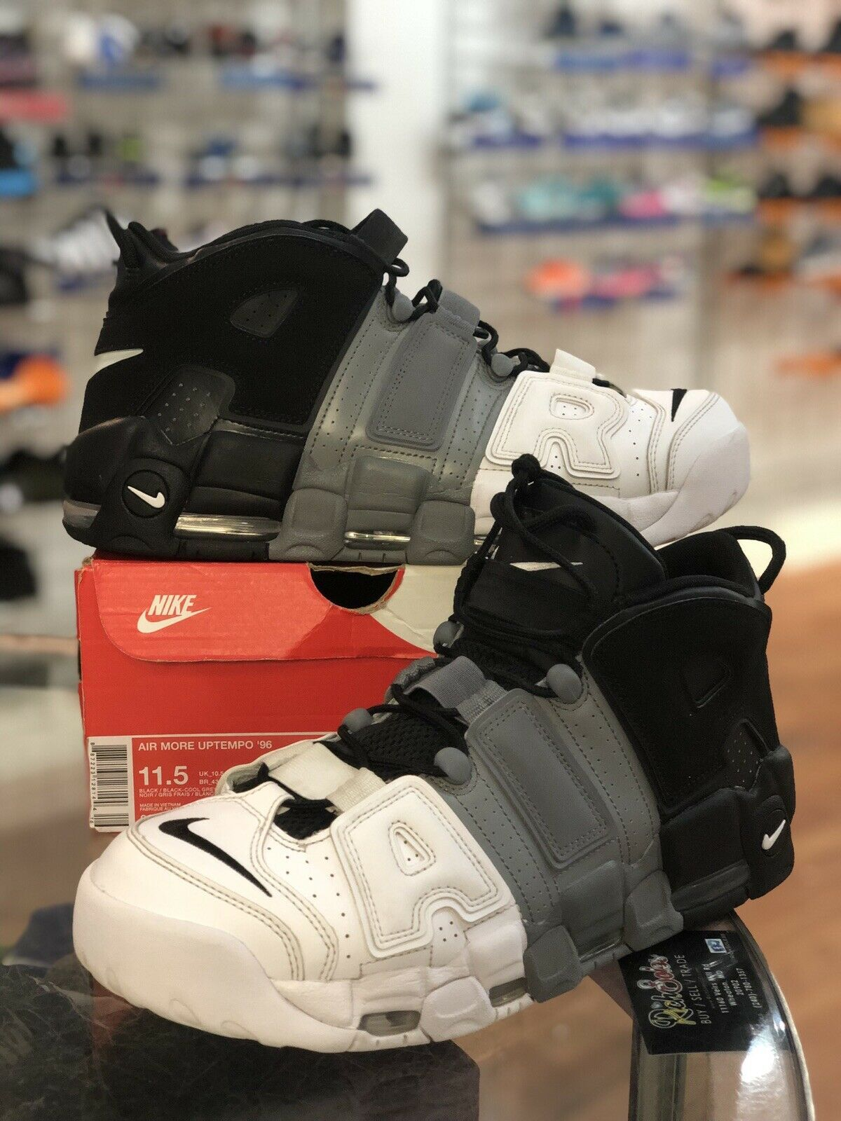 fd65a0b06e NIKE AIR MORE UPTEMPO BLACK COOL GREY WHITE 921948-002 SIZE 11.5 '96  TRI-COLOR ntalgh1175-Athletic Shoes