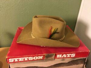63cdc1fc John B. Stetson 4X Beaver Brown Felt Men's Western Cowboy Hat Size 7 ...