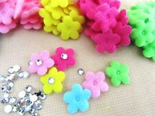 200 Small Spring Felt Flower+Crystal Rhinestone Center Applique Mix & Match H557