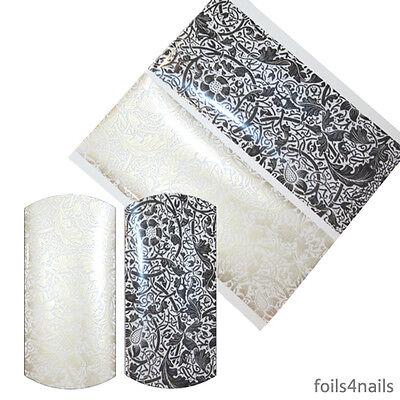 2 x Nail Art Foils - Transparent Black Lace and Gold Lace