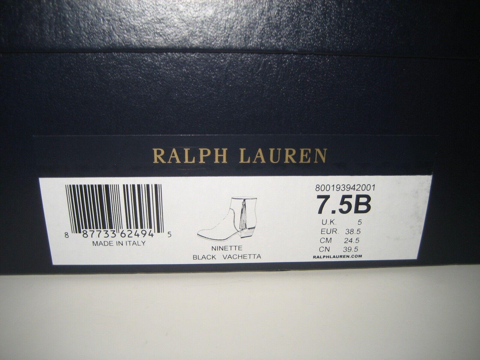 795 Nouveau Nouveau Nouveau RALPH LAUREN collection 7.5 US en cuir noir Josiane Bottines Box 206a72