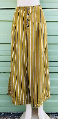 ZARA Cropped Wide Leg Trousers with Buttons  Size XL