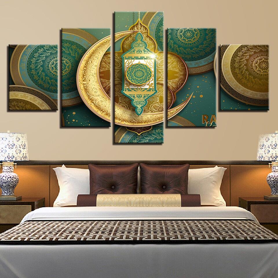 Islamic Ramadan Kareem Arabic Lantern 5 Piece Canvas Print Wall Art