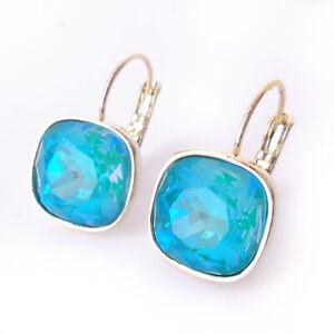 Blue-Laguna-Delite-Crystal-Earrings-w-Cushion-Cut-Swarovski-Prom-Gold-Plated