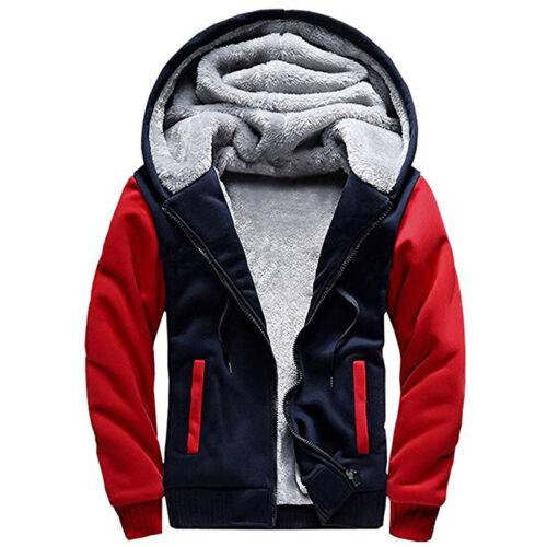 Men/'s Warm Winter Causal Thicken Hooded Fur Fleece Coat Jacket Parka Outwear