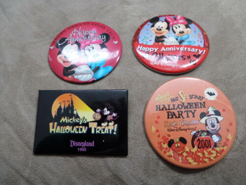 Disney ButtonPin Lot 2 different Happy Anniversary, 2 different Halloween