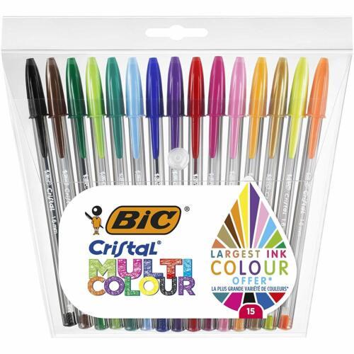 1, 6 mm Couleurs Assorties BIC Cristal Multicolour Stylos-Bille Pointe Large