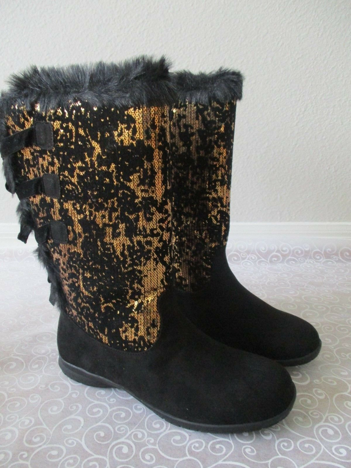 JOAN BOYCE BLACK & gold SEQUIN FAUX FUR LINNING BOOTS SIZE 10 M - NEW