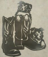 Border Collie In Boots Metal Wall Art Plasma Cut