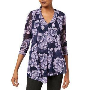 ALFANI-NEW-Women-039-s-Floral-Draped-Asymmetrical-Mesh-Blouse-Shirt-Top-TEDO