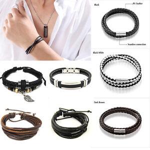 Details About Diy Surfer Tribal Multilayer Cuff Variety Leather Bracelets For Men Women Cool