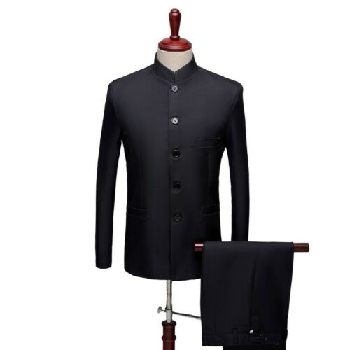 Men/'s Formal Dress Slim Fit Stand Collar Chinese tunic suit 2PCS Single Breasted