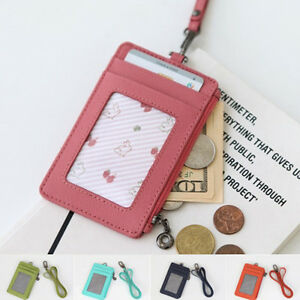 Image Is Loading Id Window Business Credit Card Holder Leather Necklace