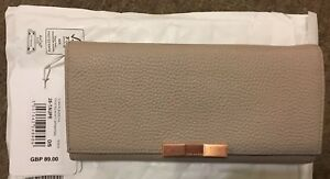 111e56bb576dd Bnwt Ted Baker Devyn Bow Flap Leather Matinee Purse Taupe Beige ...