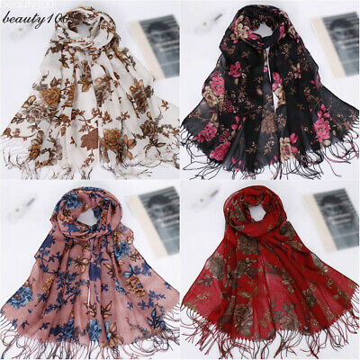 Women Floral Print Scarf Long Scarves Muslim Cotton Tassel Hijab Wrap Headwear