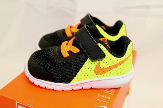 free shipping d7776 5109c New Toddler boys Nike Flex Experience 5 black Orange volt athletic shoes