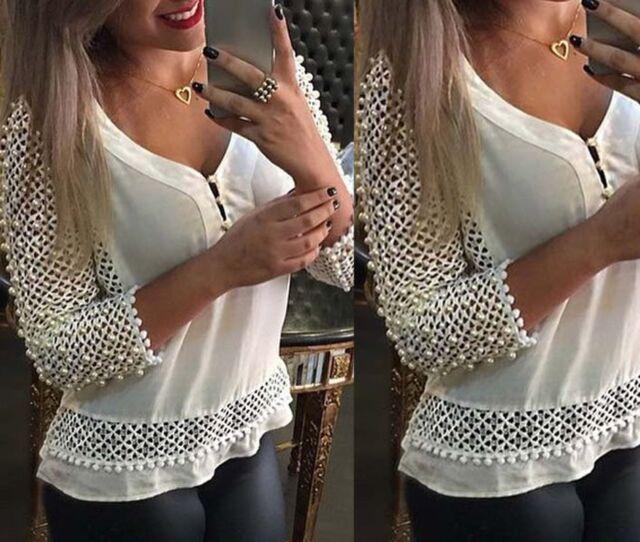 Fashion Sexy Women's Loose Chiffon V-Neck Tops Long Sleeve Shirt Casual Blouse