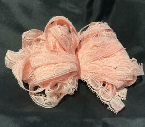 Vtg-3-8-034-Narrow-Lace-Trim-Peach-Pink-8-yards-in-2pcs-Doll-Clothes-Crafts-Lot-80k