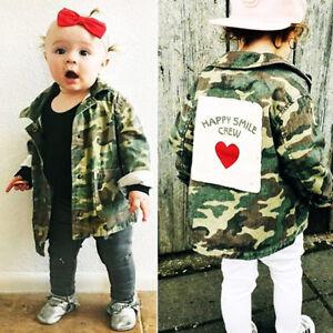 c062525e5 Kids Baby Infant Girls Camouflage Denim Coat Jacket Winter Toddler ...