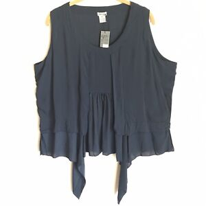 Just-Jill-Pleated-Blue-Top-Front-Ties-Size-XL