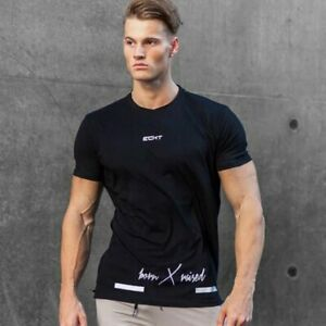 Echt-T-Shirt-Muscle-Men-039-s-Gym-Fitness-Bodybuilding-Training-Top-Cotton-Tee-New