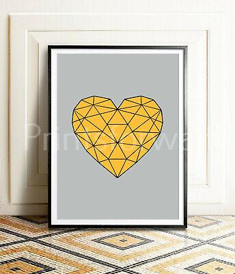 Monochrome Heart Shape Love Mustard Scandinavian Framed Home Print Poster