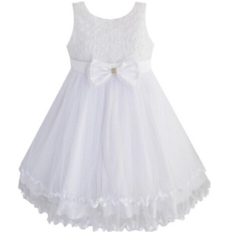 Girls Occasions Bridesmaid Dresses Flower Girl Lace Pink White 2 3 4 5 6 Pretty