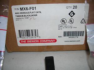 MX6-F01SIEMON Cat6 Outlet MAX UTP Category 6 Angled RJ45 Black