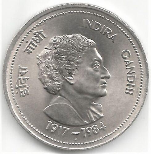 Big Uncirculated 1917-1984 India Rs 5 UNC Indira Gandhi Copper-Nickel Coin
