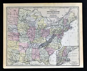 Details about 1882 Cowperthwait Map Eastern United States Railroads New  England South Midwest