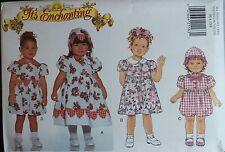 Sweet OOP BUTTERICK 3914 Toddler Girls Dress Romper & Hat PATTERN 1-2-3-4 UC