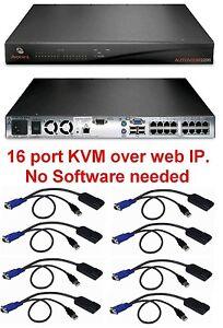 Avocent-AUTOVIEW-3200-AV3200-16-port-KVM-IP-Switch-TESTED-8-AVRIQ-USB-Modules