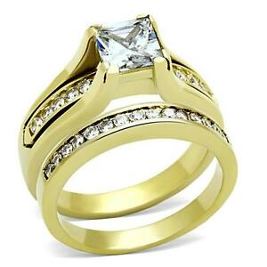 Stainless steel princess cz gold plate wedding engagement for 3pc wedding ring set