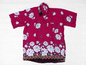 Hawaiihemd-Hawaii-Hawai-Hemd-SALE-magenta-Blumen-weiss